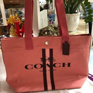 COACH Canvas Tote with Stripe